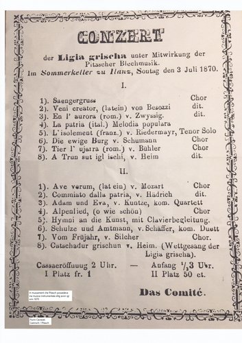 Concert, ils 3 da fenadur 1870, el Sommerkeller a Glion