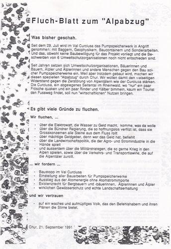 Alpabzug Chur 21.9.1991, Fluch-Blatt
